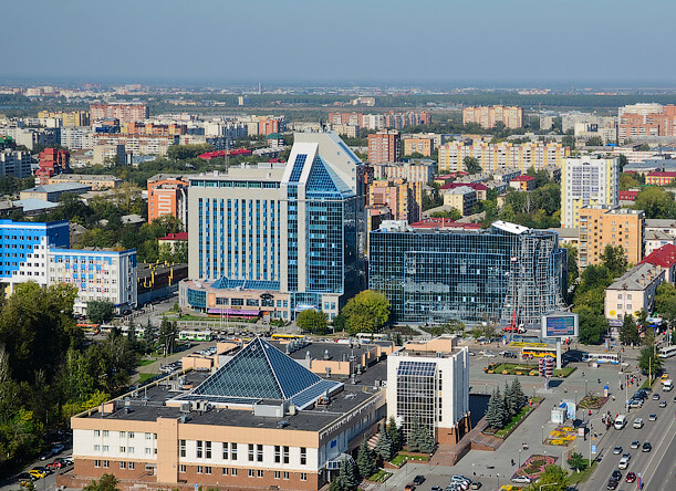 Panoramic air view of the Gazprom Administrative Building and surrounding part of the city - facade completed using BILDA rainscreen system.