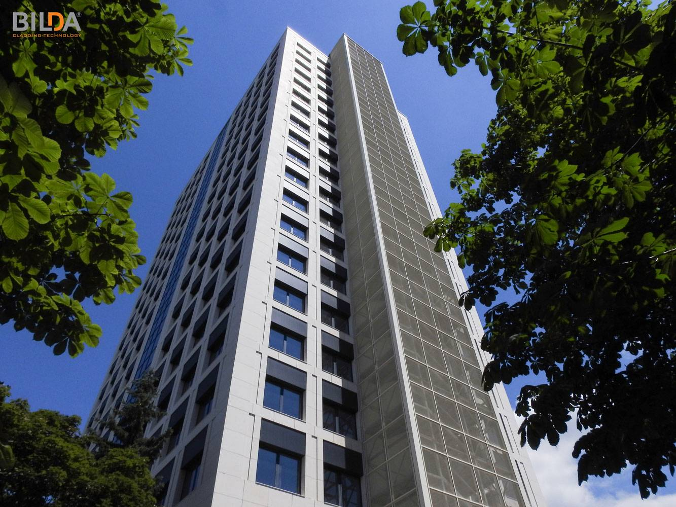 Angled perspective view of Energoproekt Building in Sofia, Bulgaria, completed with BILDA rainscreen