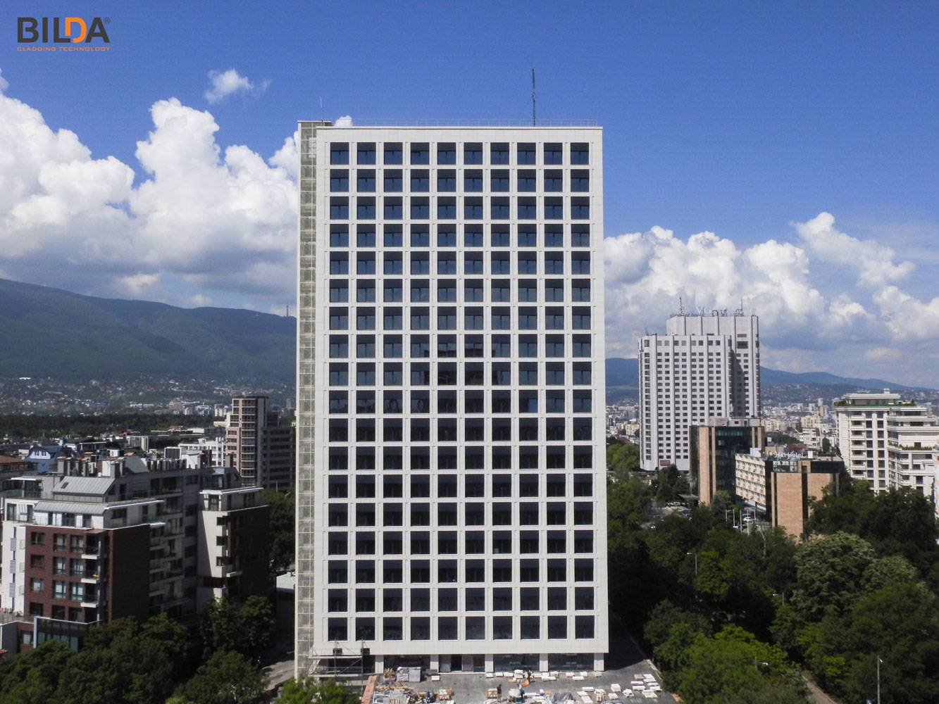 From a distance - Energoproekt Building in Sofia, Bulgaria, completed with BILDA rainscreen